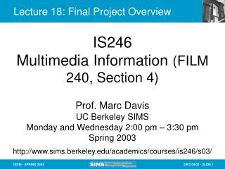 Lecture 18: Final Project Overview