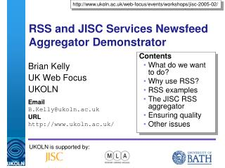 RSS and JISC Services Newsfeed Aggregator Demonstrator