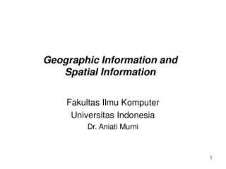 Geographic Information and  Spatial Information