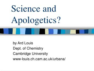 Science and Apologetics?