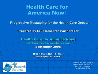 Progressive Messaging for the Health Care Debate