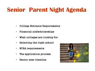 Senior  Parent Night Agenda