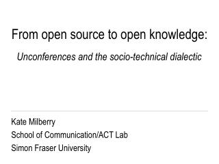 From open source to open knowledge: