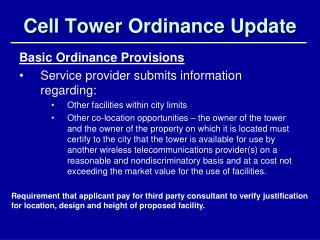Cell Tower Ordinance Update