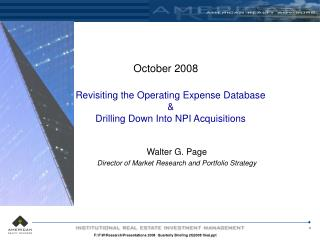 Revisiting the Operating Expense Database & Drilling Down Into NPI Acquisitions
