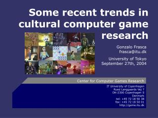 Some recent trends in cultural computer game research