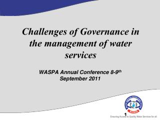 Challenges of Governance in the management of water services