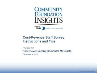 Cost-Revenue Staff Survey: Instructions and Tips