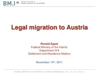 Legal  migration to  Austria