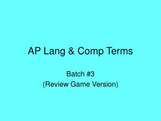 AP Lang & Comp Terms