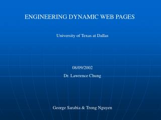 ENGINEERING DYNAMIC WEB PAGES