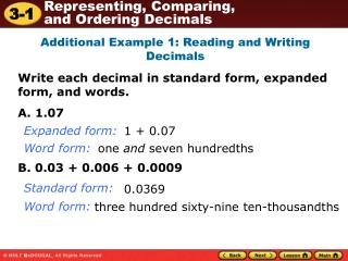 Additional Example 1: Reading and Writing Decimals