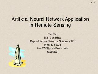 Artificial Neural Network Application in Remote Sensing
