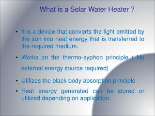 What is a Solar Water Heater ?