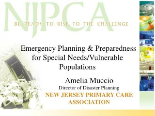 Emergency Planning & Preparedness for Special Needs/Vulnerable Populations