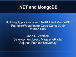 .NET and MongoDB