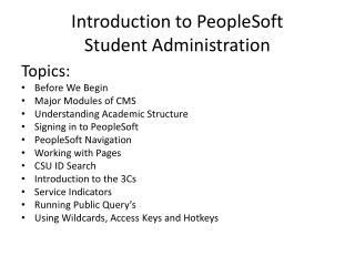 Introduction to PeopleSoft Student Administration