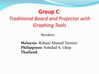 Group C :   Traditional Board and Projector with Graphing Tools