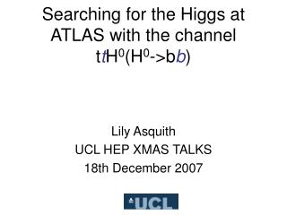 Searching for the Higgs at ATLAS with the channel t t H 0 (H 0 ->b b )