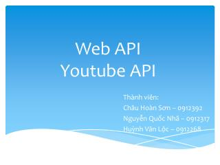 Web API Youtube API