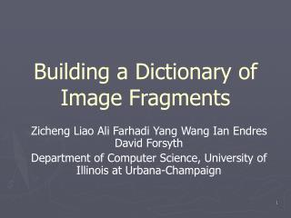 Building a Dictionary of Image Fragments