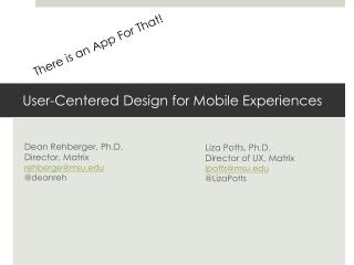 User-Centered Design for Mobile Experiences