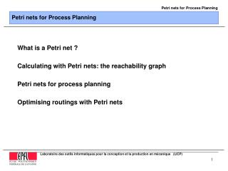 Petri nets for Process Planning