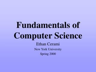 Fundamentals of  Computer Science