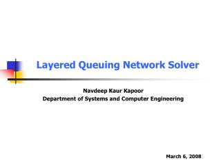 Layered Queuing Network Solver