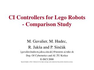 CI Controllers for Lego Robots  - Comparison Study