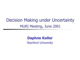 Decision Making under Uncertainty MURI Meeting, June 2001