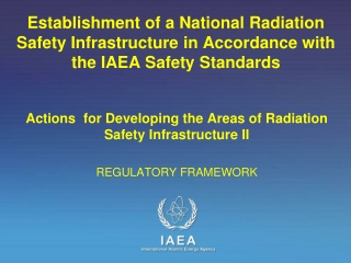 Actions for Developing the Areas of Radiation Safety Infrastructure II REGULATORY FRAMEWORK