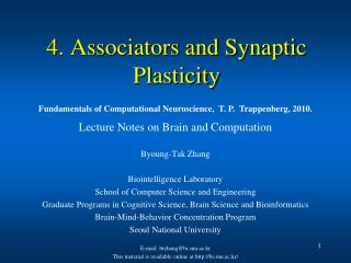 4. Associators and Synaptic Plasticity