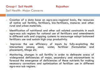 Group-I  Soil Health     Rajasthan Soil Health- Major Concerns