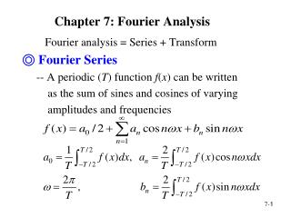 Chapter 7: Fourier Analysis