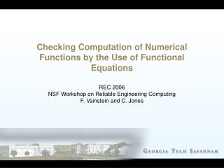 Checking Computation of Numerical Functions by the Use of Functional Equations
