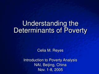 Understanding the Determinants of Poverty   Celia M. Reyes Introduction to Poverty Analysis