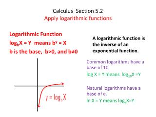 Calculus  Section 5.2 Apply logarithmic functions
