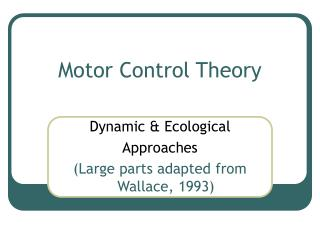 Motor Control Theory