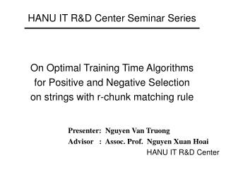 HANU IT R&D Center Seminar Series