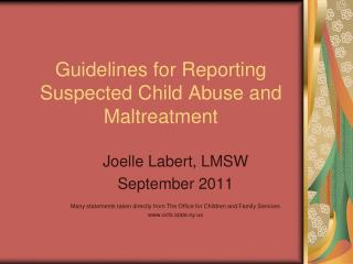 Guidelines for Reporting Suspected Child Abuse and Maltreatment
