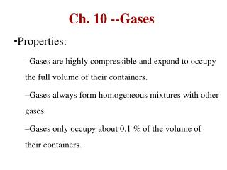 Ch. 10 --Gases