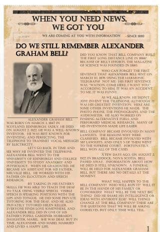 Do We Still Remember Alexander Graham Bell?