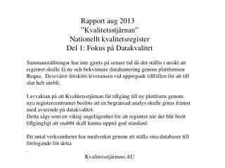 Rapport aug 2013