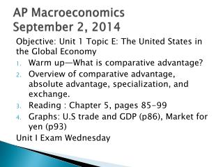 AP Macroeconomics September 2, 2014