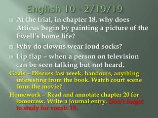 English 10 - 2/19/19