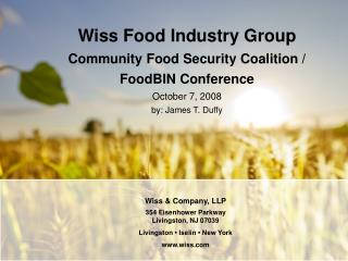 Wiss & Company, LLP 354 Eisenhower Parkway Livingston, NJ 07039 Livingston • Iselin • New York