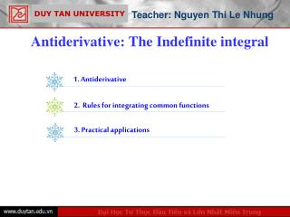 Antiderivative: The Indefinite integral