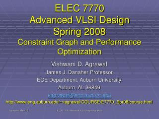 ELEC 7770 Advanced VLSI Design Spring 2008 Constraint Graph and Performance Optimization