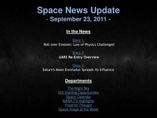 Space News Update  September 23, 2011 -
